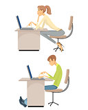 Girl and guy at the computers