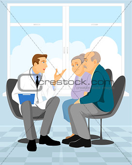 Couple  pensioner in clinic