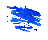 Blue watercolor stain with aquarelle paint blotch