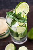 Mojito Drink on Wooden Table