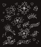 Hand drawn tattoo design elements