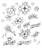 Hand drawn tattoo design elements