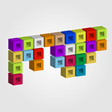 Composition with colorful cubes