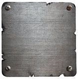 Old torn metal plate with bolts isolated