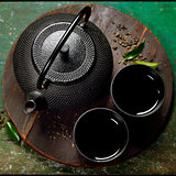 Black iron asian tea set