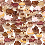 Seamless background made of cakes