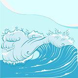 Blue foamy sea wave
