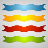 Set of wavy label ribbons