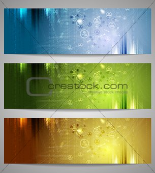 Bright technology banners