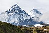 Volcanic landscape, volcanoes: Kamen, Kliuchevskoi, Bezymianny