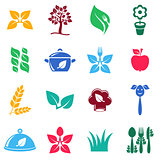 Vegetarian organic food icons