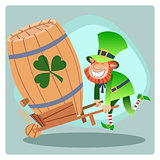 Day Patrick green leprechaun lucky keg of beer