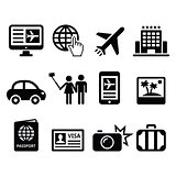 Travel and tourism, booking holidays icons set