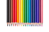 row of colored pencils isolated on white