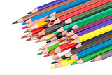 pile of colored pencils isolated
