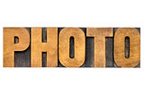 photo word in wood type