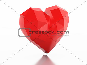 3d Low Poly heart. Love concept