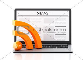 3d Laptop with news and RSS symbol. Media concept