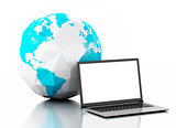 3d Laptop and earth globe. Global communication