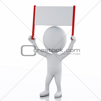 3d White people with sign board banner