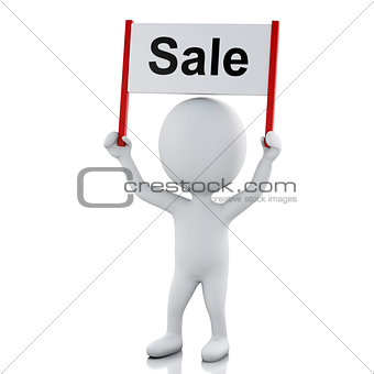 3d White people with sign board banner. Sale concept
