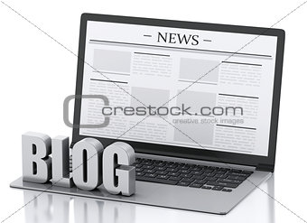 3d Laptop and blog sign. News concept