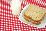 peanut butter sandwich and milk