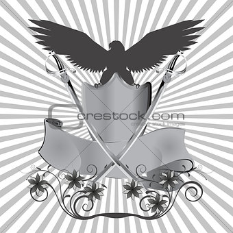 background eagle on shield with swords and flowers