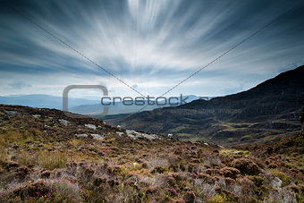 Autumn landscape image from mountains looking across countryside