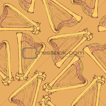 Sketch harp musical instrument in vintage style