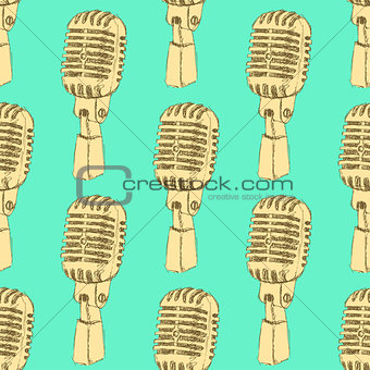 Sketch old microphone in vintage style