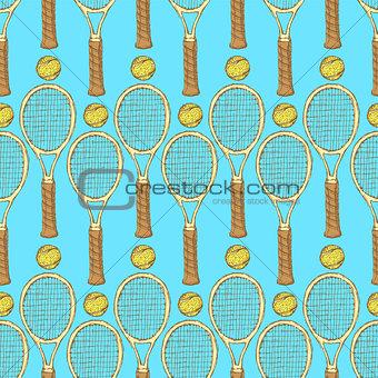 Sketch tennis equipment in vintage style