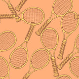 Sketch tennis equipment in vintage style