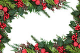 Christmas Red Bauble Border