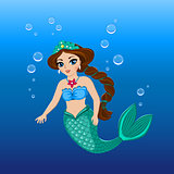 Illustration of a cute mermaid girl under the sea