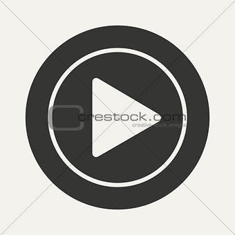 Flat in black and white mobile application play icon