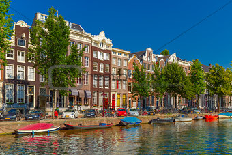 Amsterdam canals and typical houses, Holland, Netherlands.