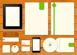 Empty set mockup of corporate identity elements.