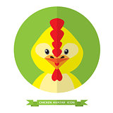 Chicken flat icon on green background.