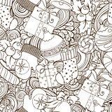 Winter icons vintage seamless pattern.