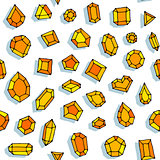 Cartoon doodle gems vector seamless pattern