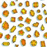 Cartoon doodle gems vector seamless pattern