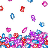 Cartoon doodle gems vector background