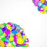 Cartoon doodle gems vector background