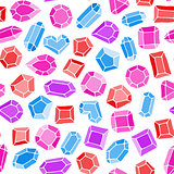 Doodle gems vector seamless pattern