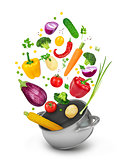 Concept of healthy eating. Fall vegetables in a pot on a white b