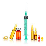 syringe with the needle, medical ampoules on a white background