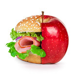 concept of dieting, healthy eating choices and fast food