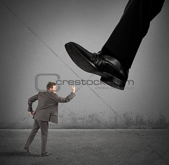 Businessman against boss