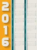 Striped 2016 calendar with shadows